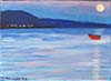 Painting of a red boat, by Patricia Kennedy