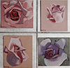 Still life paintings of roses on panels